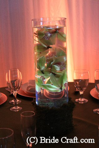 orchid and light centerpiece in glass cylinder